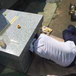 丘カロート外柵の工事を2日に分けてやる理由。川崎市多摩区の寺院墓地。