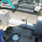 多摩区で墓所外柵の据付工事、スタートです。
