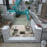 川崎市麻生区 墓地外柵の据付工事を開始です。
