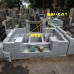 お墓の内側に『縁の下の力持ち』。狛江市寺院墓地の現場にて