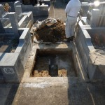 海老名市でのお墓の解体作業。おおむね順調です。