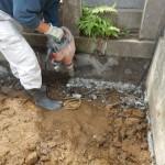 川崎市多摩区で、大谷石製のお墓のリフォーム。ただいま基礎工事中です。