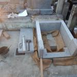 多摩区のお寺で新規外柵の据付け工事