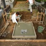 東京・狛江市で新規墓所の基礎工事を行いました。