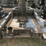 墓地工事二件の下準備作業。津田山の緑ヶ丘霊園にて