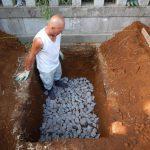 納骨室の新設。基礎工事に取りかかりました。 川崎市麻生区の寺院墓地