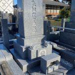 シンプルなデザインの縦洋型石塔を建てました。川崎市多摩区の寺院墓地